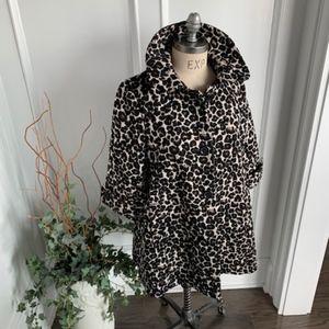 Forever21 Womens Spring Leopard Pattern Swing Coat